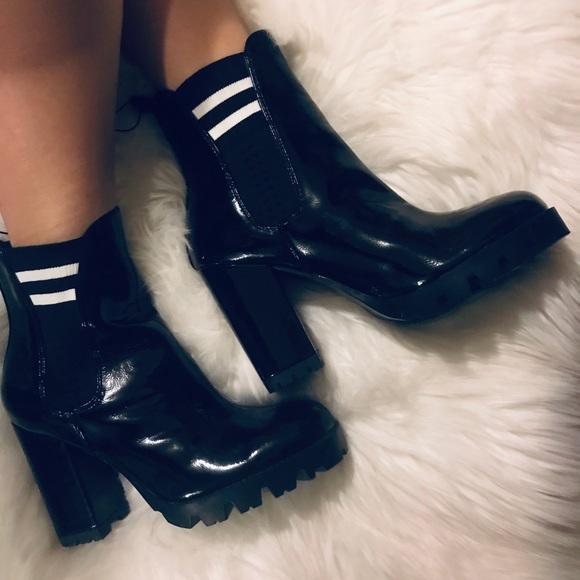 Black Latex Sock Booties 75   Poshmark